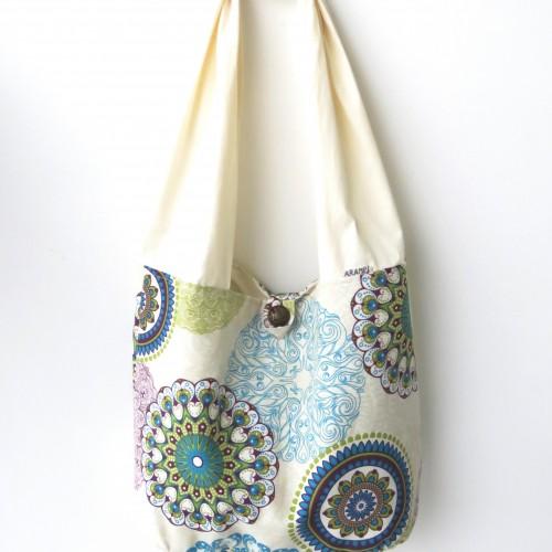 duża torba worek z materiału na ramię