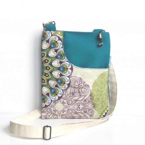 Mała torebka saszetka z materiału turkus