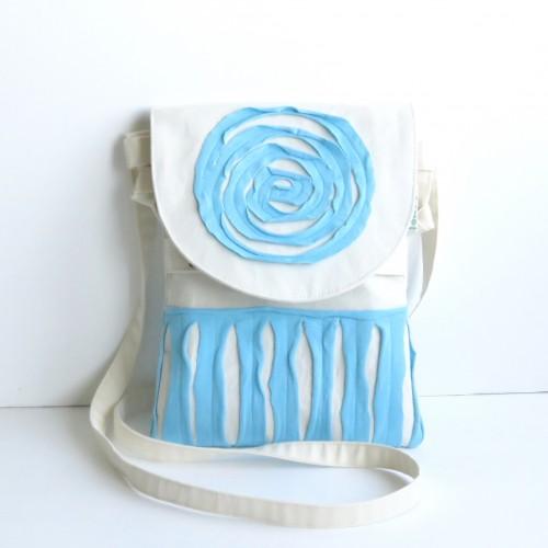 torebka saszetka na ramię z niebieskim kołem